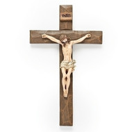 Beveled Wall Cross measures 8 inches in height. Made of resin and metal in a wood tone shade.