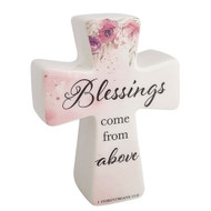 "6""H Blessings Cross-Blessings Come from Above. Made of Porcelain. Pink Flowers on the cross. The words ""Blessings Come From Above."" are written on the porcelain cross"