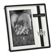 "Confirmation Frame from the Caroline Collection.  This 7.25""H black and silver frame holds a 4"" x 6"" photo. There is a black cross with a silver dove that adorn the one side of the frame. The Confimation Frame is made of a zinc alloy-lead free."