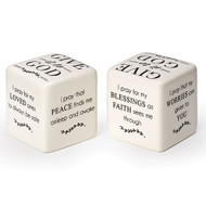 "Give it to God Prayer Square. The Give it to God Prayer Square measures 2.5""x 2.5""x 2.5"" and is made of Dolomite.  There are different sayings on each side of the cube.  See also Give it to God Bracelet (Item #222904) and Give it to God Prayer Box (Item #222750), and Give it to God Coffee Mug (2230022), Give it to God Plaque (223155), and Give it to God Tea Towel (223172)"