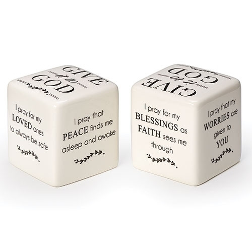 """Give it to God Prayer Square. The Give it to God Prayer Square measures 2.5""""x 2.5""""x 2.5"""" and is made of Dolomite.  There are different sayings on each side of the cube.  See also Give it to God Bracelet (Item #222904) and Give it to God Prayer Box (Item #222750), and Give it to God Coffee Mug (2230022), Give it to God Plaque (223155), and Give it to God Tea Towel (223172)"""
