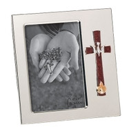 """7""""H Confirmation Frame. This white and silver confirmation frame holds a 4"""" x 6"""" photo. 