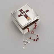"2.25""H Confirmation Keepsake Box. This confirmation box has a brown enameled cross on the top of the lid. The cross is adorned with a silver dove and flame icons at the bottom of the cross.  Made of a zinc alloy that is lead free."