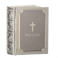 "3.5"" Baptism Bible Keepsake from the Carolilne Collection. Baptism Bible Keepsake Box can hold a rosary or a baby bar pin for keepsakes. Box is made of a zinc alloy-lead free."