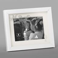 "8""H White Holy Communion Photo Frame. The white holy  communion photo frame has the words ""My First Communion "" written across the top of the Glass. The picture frame holds a 5"" x 7' photo.  Made of glass and plastic."