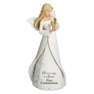 "Blessings on Your First Communion Angel. First Communion Heavenly Blessings Angel is holding  a chalice and  is 7""H. The bottom of the angels dress has the words ""blessings on your first communion.""  Blessings Angel is made of a resin/stone mix."