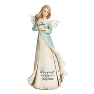 "Blessings on Your Baptism Angel. Baptism Heavenly Blessings Angel is holding a shell and is 7""H. The bottom of the angels dress has the words ""blessings on your baptism.""  Blessings Angel is made of a resin/stone mix."
