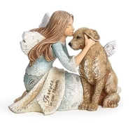 "Forever in Our Hearts Angel and Dog Figure.  Angel and Dog with Wings Heavenly Blessings figurine is 4.25""H.  Angel is holding a dog with wings. Forever in Our Hearts is written across the angel's lap.  Made of a resin/stone mix"