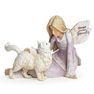 "Forever in Our Hearts Angel and Cat Figure.  Angel and Cat Heavenly Blessings figurine is 4.25""H.  Angel is holding a cat with wings. Forever in Our Hearts is written across the angel's lap.  Made of a resin/stone mix"