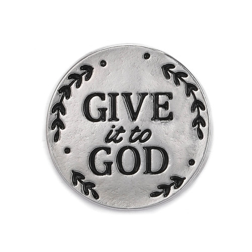 "Give it to God Pocket Token. The 1""D Give it to God Pocket Token is made of zinc.  See also Give it to God Bracelet (Item #222904) and Give it to God Prayer Box (Item #222750), and Give it to God Coffee Mug (2230022), Give it to God Plaque (223155), and Give it to God Tea Towel (223172) Give it to God Prayer Cube"