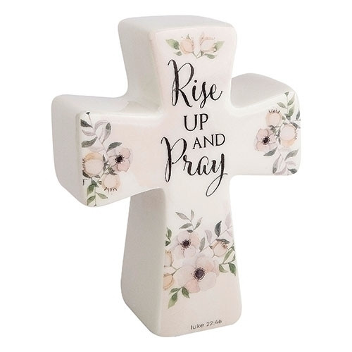 """6""""H Blessings Cross-Blessings Come from Above. Made of Porcelain. Pink Flowers on the cross. The words """"Rise Up and Pray"""" are written on the porcelain cross"""