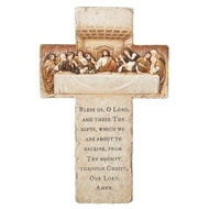 "The Last Supper Wall Cross.  The Last Supper Wall Cross has the Grace- ""Bless Us O Lord and these Thy Gifts"" prayer on the bottom of the cross. The Apostles and Jesus are depicted at the top of the cross at the last supper. The cross is 13.25""H and is made of a resin/stone mix."