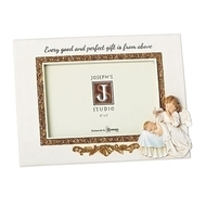 """Hush a Bye Baby Photo Frame. This 6.5""""H  Angel Watching Over Baby Photo Frame complements the Musical Hush a Bye Baby Musical Statue and Wall Cross. The Hush a Bye Baby Photo Frame is a resin stone mix. The frame hold a 6"""" X 4"""" photo. The Hush a Bye Baby Photo Frame is perfect for a newborn gift or baptis"""