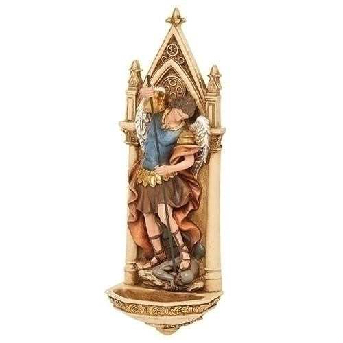"""St Michael Holy Water Font measures 7.75""""H. The St Michael Holy Water Font is made of a resin stone mix. Beautiful addition to the home water font."""