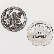 """1.5""""D St Christopher Travel Metal Pocket Token. Safe Travels written on the back of the cut out St Christopher Travel Pocket Token"""