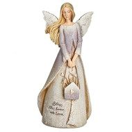 "Bless This House Angel with Flowers. Blessing Angel stands 8.5""H. She is made of a resin stone mix.  Bless this house with love is written on the bottom of the angels dress.  A wonderful housewarming gift or a gift for anytime!"