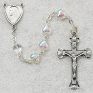 Rosary- Crystal Heart Shaped 6 Millimeter Beads with Pewter Centerpiece and Crucifix