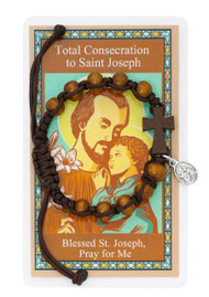 St Joseph Adjustable Wood Bead Bracelet with Laminated Prayer Card and hang bag.  Small oxidised medal of St Joseph and the Child Jesus attached.