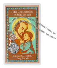 "St Joseph Pewter Medal comes on a 24"" silvertone chain with laminated Total Consecration to Joseph Prayer Card and hang bag."