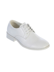 Boy's White lace up matte shoes in various sizes.  Youth Sizes 5,6,7, and 8.