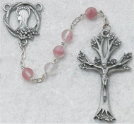 Rosary-Rose Glass Beads with Dogwood Crucifix and Head of the Blessed Mother Center
