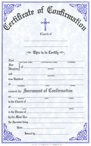 "Confirmation Certificates Measure: 6"" x 9 1/4"" and come in pads of 50. All Certificates are Printed on Acid-Free Paper for Long Life. Bilingual certificates are available."