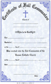 "Communion Certificates Measure: 6"" x 9 1/4"" and come in pads of 50. All Certificates are Printed on Acid-Free Paper for Long Life. Bilingual certificates are available."