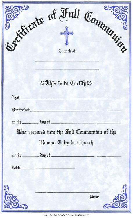 """Communion Certificates Measure: 6"""" x 9 1/4"""" and come in pads of 50. All Certificates are Printed on Acid-Free Paper for Long Life. Bilingual certificates are available."""