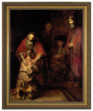 This quiet and touching image of the Prodigal Son by Rembrandt comes in an attractive gold frame under premium clear glass. A truly artistic and religious addition to any home!