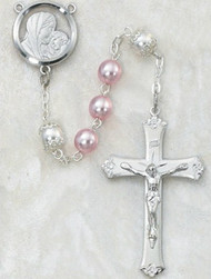 7 Millimeter Pink and Pearl Rosary. Rhodium Crucifix and Center. Deluxe Gift Box Included