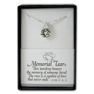 """The sterling silver Memorial Tear® pendant is meant to be worn in memory of someone loved. The rose inside the tear is a symbol of a love that never ends. The sterling silver Memorial Tear® necklace measures 3/8""""W x 5/8""""H and comes on an 18 inch stainless steel chain with a clasp.  Memorial jewelry comes in a gift box with a card that reads, """"This is a teardrop, to be worn in memory of someone loved."""""""