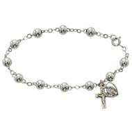 "7 1/2""  Adult Rosary Bracelet- 6 MM sterling silver beads and wire, sterling silver crucifix and miraculous medal. Includes  a deluxe gift box. Made in the USA"