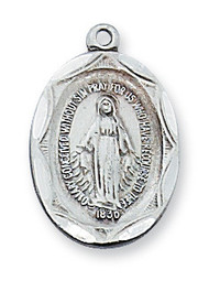 """3/4"""" x 1/2"""" Antique Plated Pewter Miraculous Medal. Medal comes on an 18"""" Rhodium Plated Chain"""