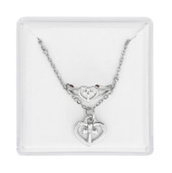 "16"" adjustable heart cross pendant with matching adjustable ring."