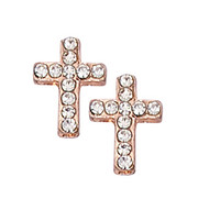 Copper Crystal Cross Earrings. Present in a clear box.