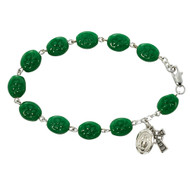 """7 1/2"""" Sterling Silver Bracelet with green oval glass beads imprinted with shamrocks and miraculous medal and celtic cross charms"""