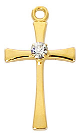 """3/4"""" Goldplated  Pewter Cross with Stone. Gold Plated Pewter Cross comes on a 16"""" chain. The cross presents in a clear box and is made in the USA."""