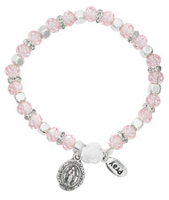 6MM Pink Crystal Beads with Flower Stretch Bracelet. Bracelet has a Miraculous Medal and a Pray  charm attached.