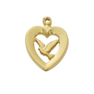 "1/2"" Heart with Dove Medal.  Gold Plated Sterling Silver on an 18"" Rhodium Plated Chain. Gift Box Included. Made in the USA"