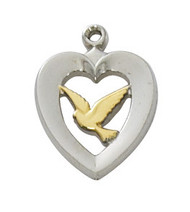 """Tutone 1/2""""  Sterling Silver Heart and Gold Holy Spirit Dove Medal. Dove in Heart Pendant comes on an 18"""" Rhodium Chain. Gift Box Included. Made in the USA"""