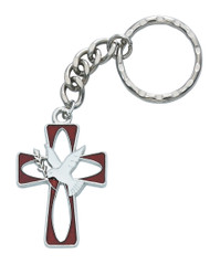 """Holy Spirit Key Ring is enameled and comes carded. Dimensions: Dimensions: 4"""" X 1 1/2"""" X 1"""""""