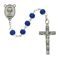 "Beautiful First Communion Rosary. This 6mm blue bead rosary has a pewter crucifix and a pewter chalice centerpiece.   The rosary comes in a gift box. Perfect keepsake rosary for years to come.  DIMENSION: 19"" X 1"" X 1 1/3"""