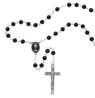 Beautiful First Communion Rosary. This 6mm black onyx rosary has a black enameled pewter crucifix and a chalice centerpiece.  The rosary comes in a black gift box. Perfect keepsake rosary for years to come.