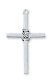 """Sterling Silver Cross comes on a 24"""" rhodium chain. Cross is gift boxed."""