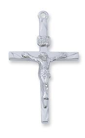 "Sterling Silver Crucifix. Crudifix comes on a 24"" rhodium chain. Dimension: 1 6/16""L.  Crucifix is gift boxed."