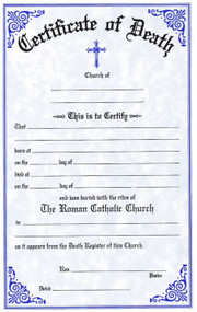 "English-Two Color Death Certificates. Certificates are available in English and Bilingual (Eng/Spanish) Each certificate measures: 6"" x 9 1/4"".  Imprinted Certificates are sold in pads of 50 certificates.  All Certificates are Printed on Acid-Free Paper for Long Life."