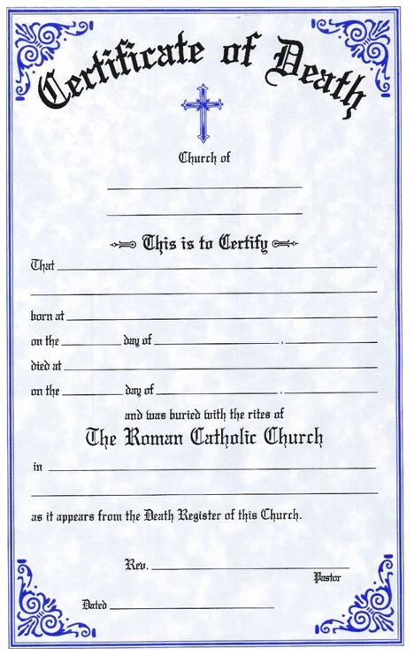 """English-Two Color Death Certificates. Certificates are available in English and Bilingual (Eng/Spanish) Each certificate measures: 6"""" x 9 1/4"""".  Imprinted Certificates are sold in pads of 50 certificates.  All Certificates are Printed on Acid-Free Paper for Long Life."""