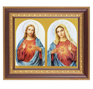 "An 8"" x 10"" image of the Sacred Heart of Jesus and the Immaculate Heart of Mary  in a beautiful 11"" x 13""  cherry finished frame with gold edge under glass. Easel back or hook to hang"
