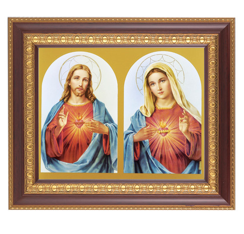 """An 8"""" x 10"""" image of the Sacred Heart of Jesus and the Immaculate Heart of Mary  in a beautiful 11"""" x 13""""  cherry finished frame with gold edge under glass. Easel back or hook to hang"""