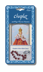 "Infant of Prague Deluxe Chaplet with Dark Red Glass Beads.  Packaged with a Laminated Holy Card & Instruction Pamphlet.  Overall 6.5"" x 3.5""."